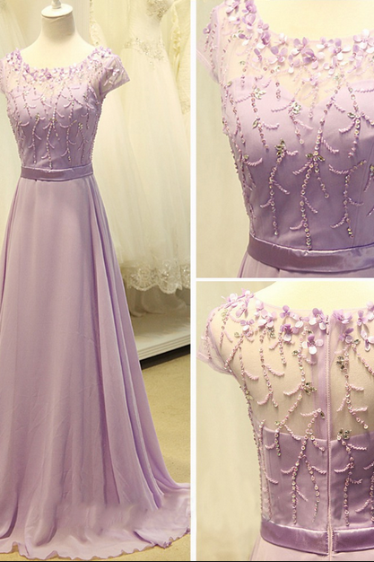 Cap Sleeve Light Purple Long Chiffon Prom Dress A Line Party Dresses Bridesmaid Dress