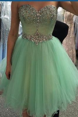 Cute Sweetheart beading lace short prom dress mini prom dress