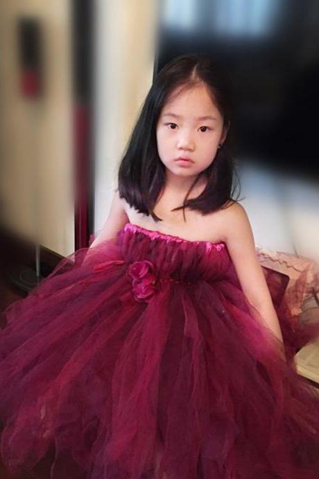 2016 Hot Kids Dress Burgundy Flower Girl Dress Children Princess Dress TuTu Long Section Of