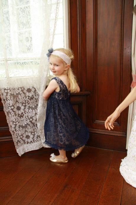 2016 Navy Lace Tea Length Hollow Celebrity Flower Girl Dress