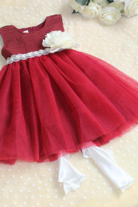 Fashion red dress skirt children princess dress flower girl dress children's clothing for girls costumes wedding dress veil Spring2016 Summer Flower Girls Dresses Girls Burgundy Dresses Beautiful Flower Girl Party Dress Children Hot Sale Dresses