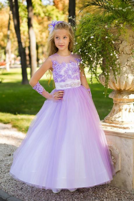 Parade Beautiful Girl Dresses Elegant Wedding Purple Sash Wall Light Lavender Girl Dresses