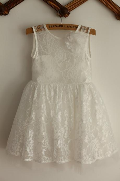 Ivory Lace Tulle V back flower girl dress children dress child children Junior Bridesmaid Dress for wedding