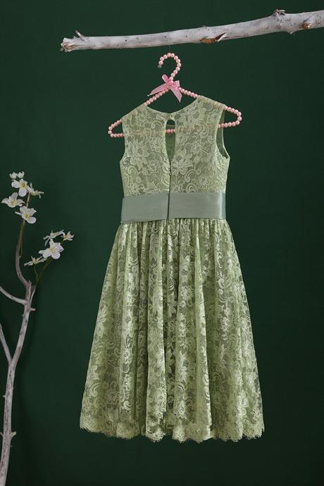 Green lace top short length sleeveless flower girl dress kids dress