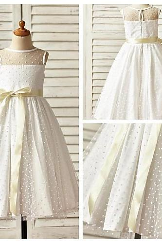 2016 Hot A-line Ankle-length Flower Girl Dress Tulle Sleeveless