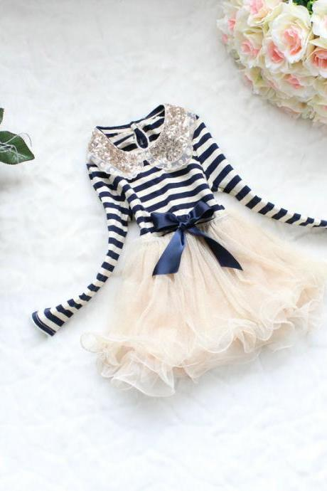 2016 Hot Blue Stripe Dress for Toddler Girls-Navy Blue Ivory Stripe Dress Girl- Free Shipping F-0002