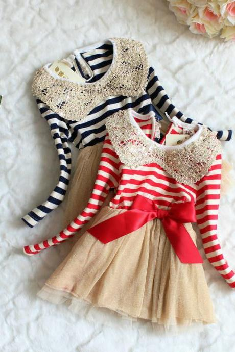 2016 Hot Blue Stripe Dress for Toddler Girls-Navy Blue Ivory Stripe Dress Girl- Free Shipping F-0003