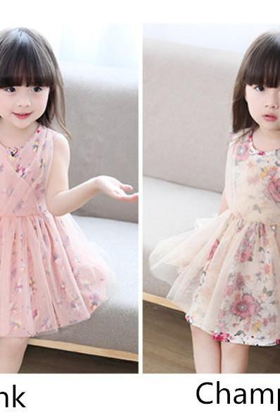2016 new summer short-sleeved cotton dress female children Korean version of spring and summer lace princess dress children F0001