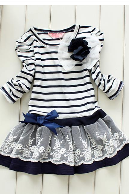 2016 New Striped Shirt Female Tong Skirt Mini Dress Pleated Skirt Summer Children's Clothing F-0009