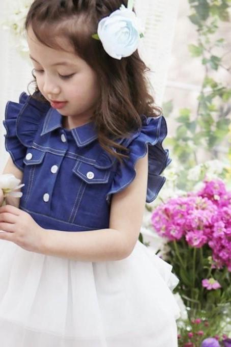2016 New Summer Children's Clothing Children Dress Princess Lady Princess Cowboy Gauze Dress F-0011