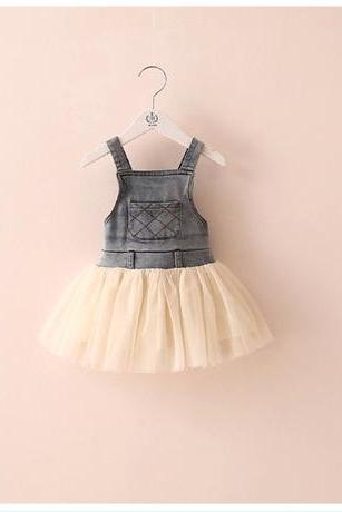 2016 Summer Children's Clothing Girls Denim Skirts Stitching Gauze Dress Children Denim Strap Dress Children Dress F-0014