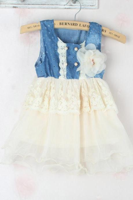 2016 New Girls Dresses Girls Cowboy Net Yarn Splicing Hole Flower Dress Pink Toddler Girl Denim Tutu Dress Denim White Floral Waist Lace Pink Dress F-0020