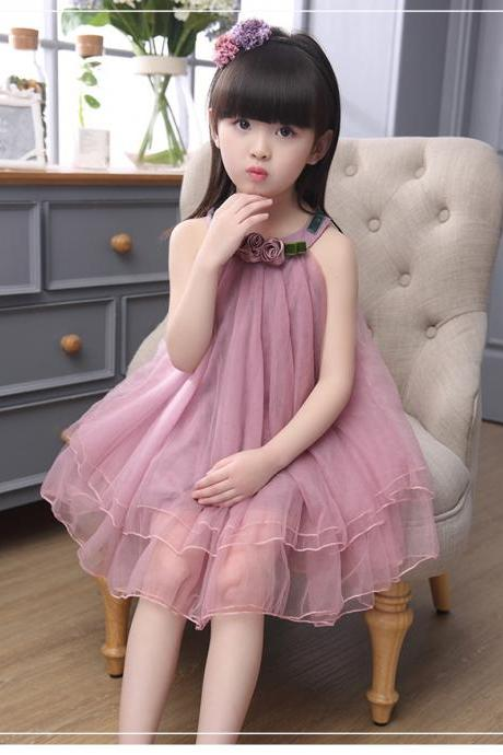 Kids Big Virgin Girls Summer 2016 New Models Of Child Girls Sleeveless Dress Veil F-0031