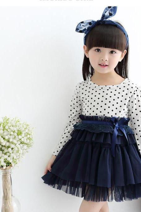 2016 Autumn New Models Listed Girls Cotton Dot Skirt Net Veil Dress Children Long-sleeved Dress Child F-0034