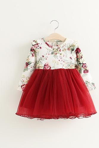 Autumn Children's Clothing Female Children Dress Children Red Flowers Fly Puff Sleeve Princess Dress Veil F-0037