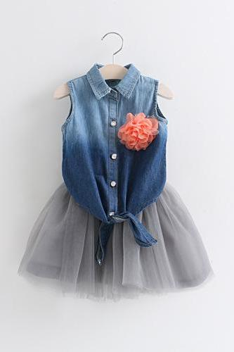 Corsage 2016 New Girls Summer Denim Vest + Gray Suit Veil F-0039