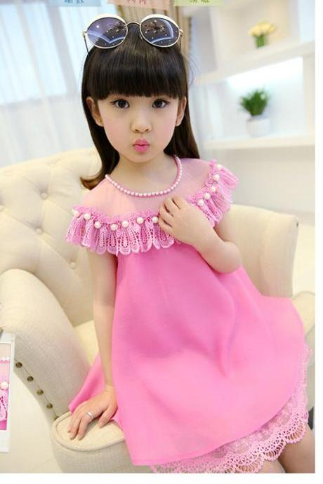 2016 Girls Dresses Summer Children's Princess Skirt Children's Clothing New Rose Red Lace Chiffon Dress F-0046