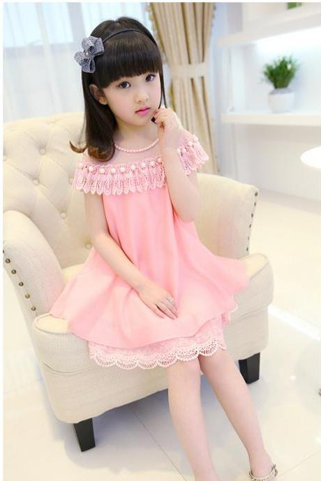 2016 Girls Dresses Summer Children's Princess Skirt Children's Clothing New Pink Lace Chiffon Dress F-0046