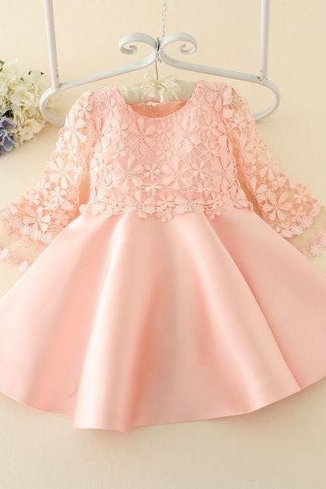 2016 Spring Children's Clothing Fashion Fhildren Dress Girls Flounced Pink Bow Hollow Lace Dress F-0049