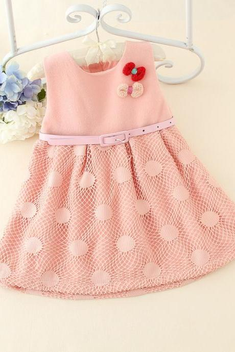 2016 Spring And Summer Children's Princess Dress Veil Korean Girls Short-sleeved Dress Children Dress F-0055