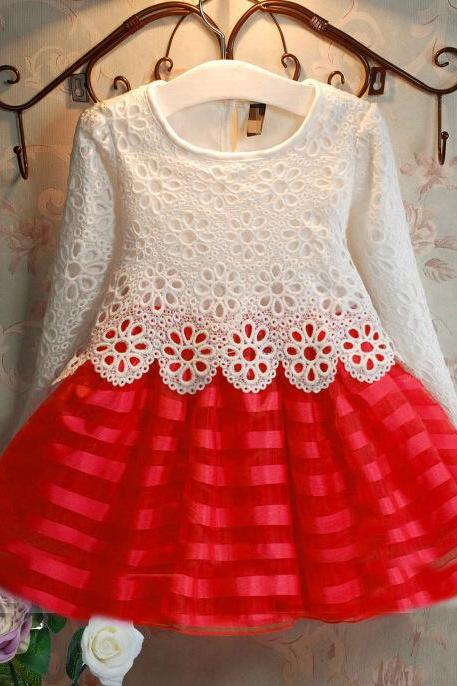 Burst Models in Europe and America Children's Clothing Female Children Dress Big Boy Children Long-sleeved Dress Crochet Lace Princess Skirt F-0067