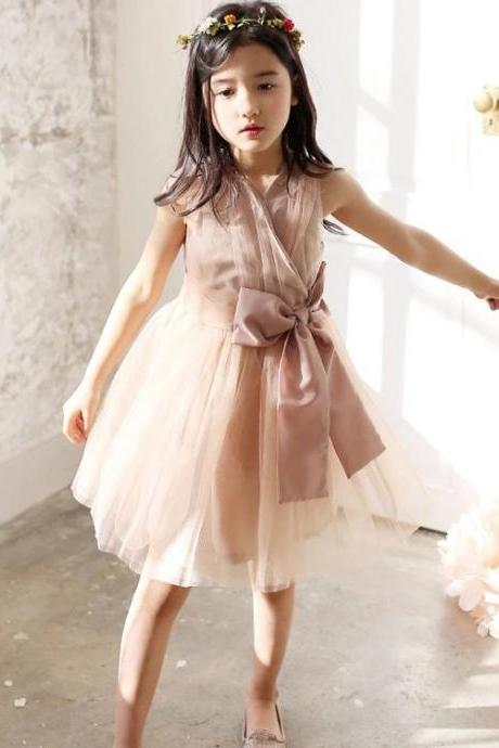 Foreign Trade Children's Clothing Children Dress Bow Sleeveless Lace Princess Dress Girls Tutu Dress Children Summer F-0068