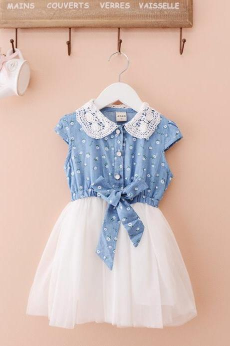 2016 Summer Models New Children's Clothing Girls Lace Stitching Denim Dress Denim Skirt Bow Sleevelesst F-0073