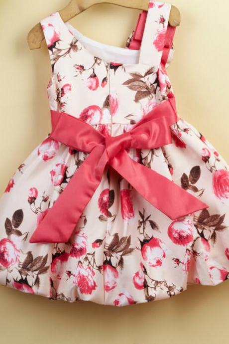 Tong Skirt Dress Oblique Flower Decoration Princess Dress Girls Flower Dress F-0075