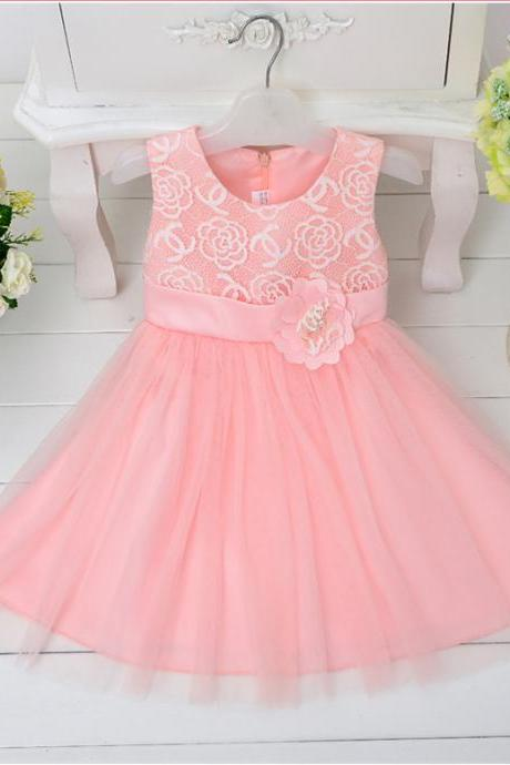 Long Skirt Dress Oblique Flower Decoration Princess Dress Girls Flower Dress Girls Performance Dress Lovely Princess Dress Skirt Girded With Flowers F-0076