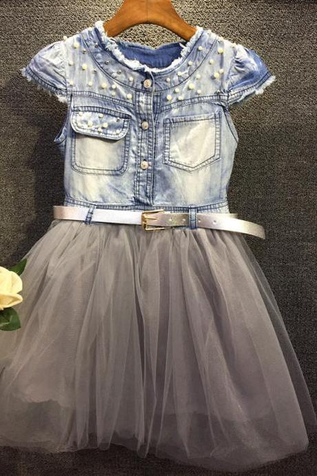 Girls Summer Dress Children In Beaded Denim Short-sleeved Dress Belt Big Virgin Princess Dress Stitching F-0077