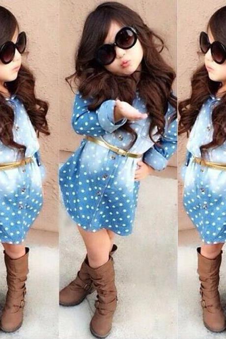 Kids Fashion Girls Girls Long-Sleeved Denim Long-Sleeved Dress European Style Decorative Belt Free Shipping F-0079