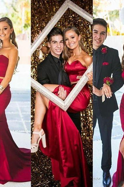 2016 Sexy Cheap Evening Dresses New Arrival Mermaid Two 2 Pieces Dark Red Satin Long Formal Prom Party Gown Elastic silk-like stain
