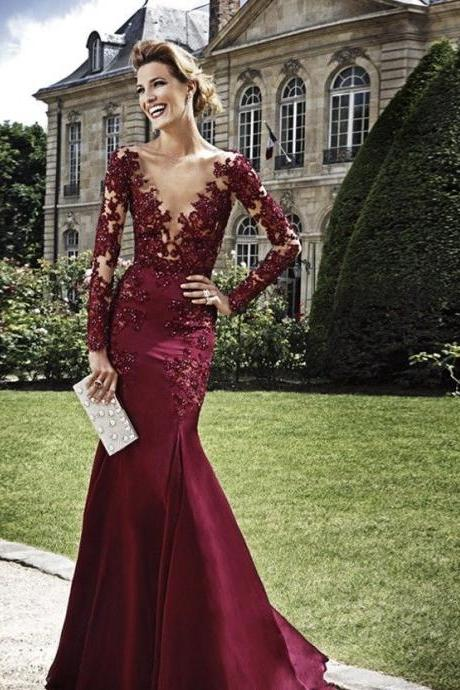 Burgundy Evening Dresses, V Neck Prom Dresses, Bling Bling Party Dresses, Long Sleeve Formal Dresses, Mermaid Evening Gowns, 2016 New Fashion Dress