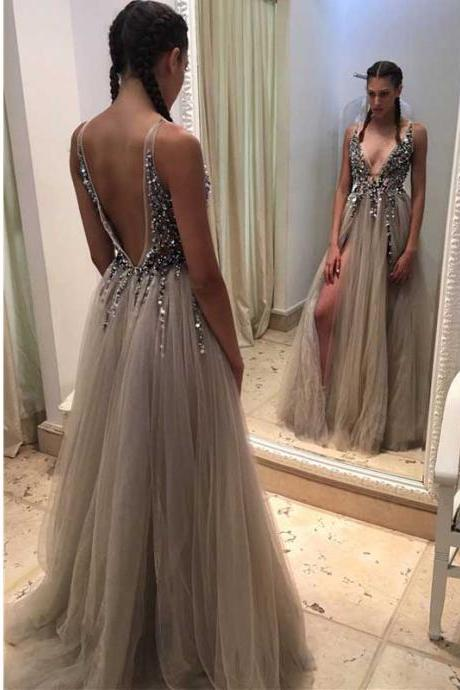 Backless Rhinestone prom dress, long tulle prom dresses, Sexy prom dresses, prom dress online, Long prom dress