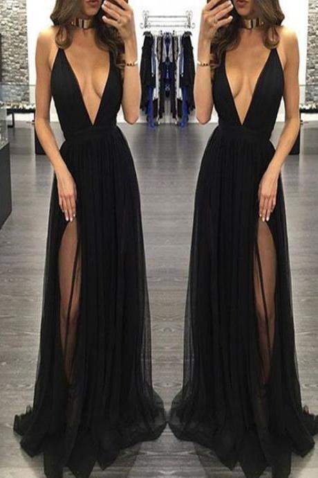 Sexy Prom Dress,Sleeveless Black Prom Dresses with Slit,Backless Evening Dress,Sexy Prom Dresses ,2017 Party Dress
