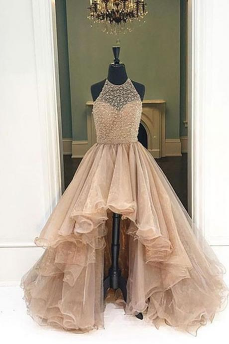 Champagne Organza Prom Dress, High Low Dress, Ball Gown 2017