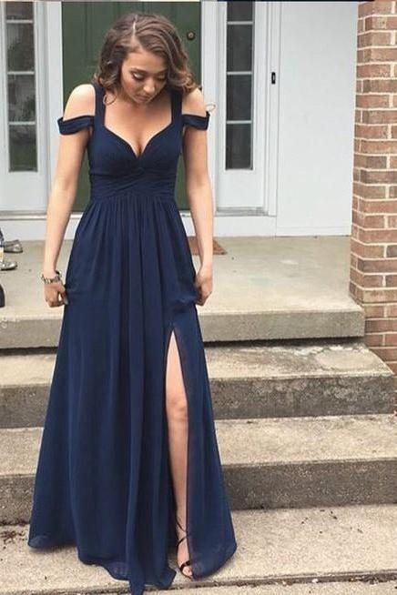 Sexy Prom Dress,Sleeveless Chiffon Prom Dresses,Long Prom Dresses,Formal Dress, Navy Blue Chiffon Prom Dress,Long sleeveless Evening Dress,