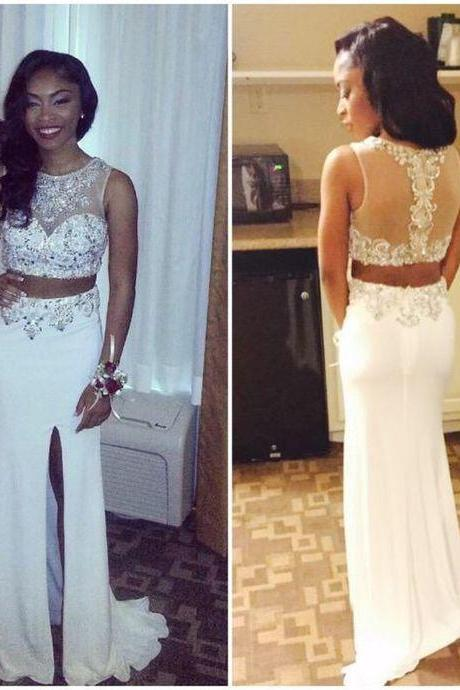 Two Piece Prom Dresses For Women, Long Sexy Rhinestones Prom Dress, Cheap Prom Dress With Side Slit, Mermaid Prom Dresses/Evening Gowns