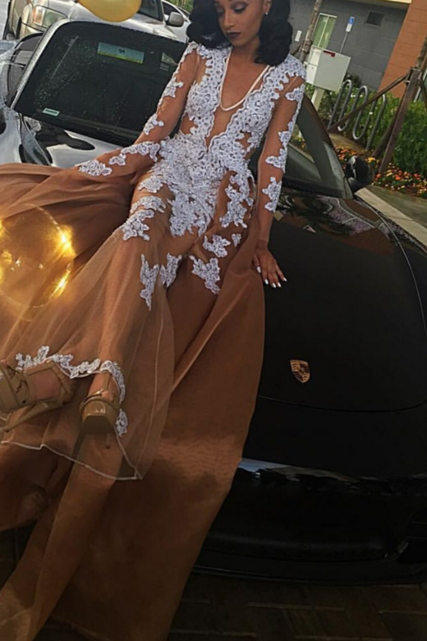 Prom Dresses,Prom Dress,V-neck A-line Lace-Appliques Newest Long-Sleeve Evening Dress