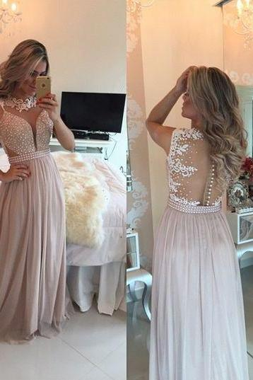 Chiffon Pearls Pink Long Prom Dresses Evening Gowns, Pearls Chiffon Prom Dresses Sweetheart Neck Sheer Open Back Long Formal Evening Gowns