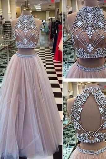 2 pieces Prom Dresses, Sexy tulle Prom Dress, lace Prom Dress, long Prom Dress, dresses for prom