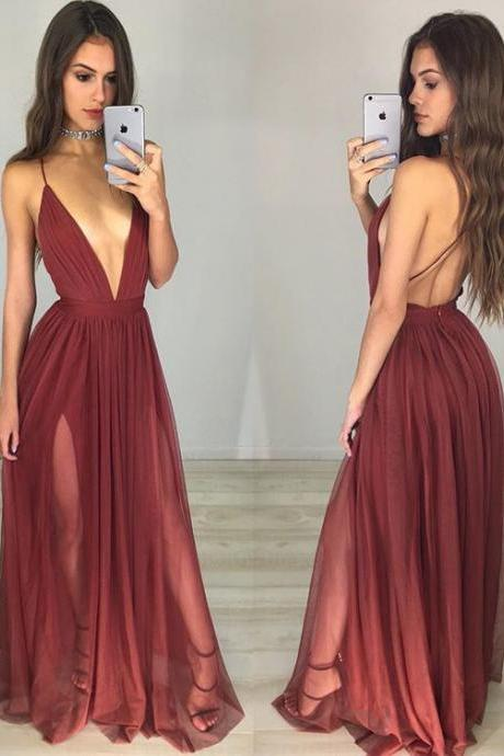 Red Prom Dress,Sexy V-neck Backless Long Prom Dresses,Simple Evening Dress, Sexy Deep V Neck Prom Dress, Backless Long Sheath Party Dress