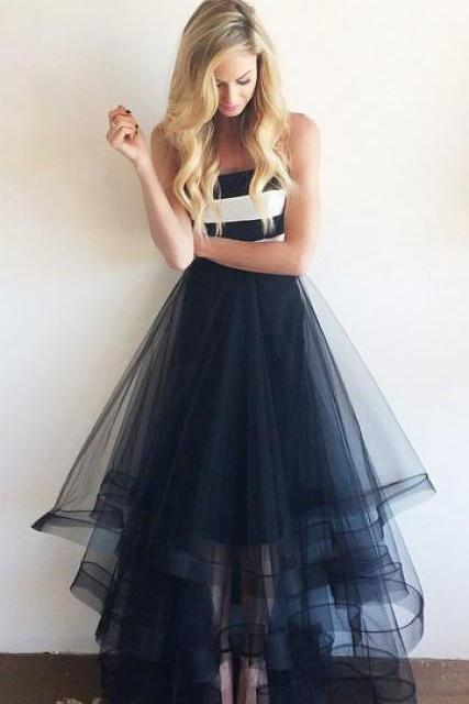 Tulle prom dresses, long prom dresses, omber bridesmaid dresses, custom prom dress, cheap prom dresses
