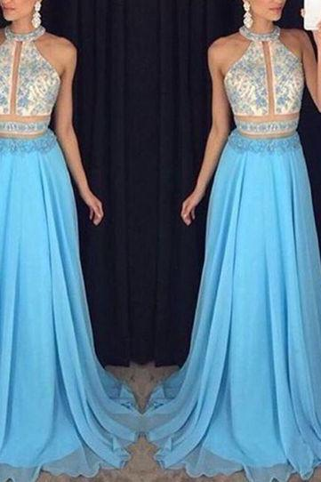 New Arrival Prom Dress,Blue sequins long prom dresses,elegant beading chiffon prom dresses,2017 evening formal gowns