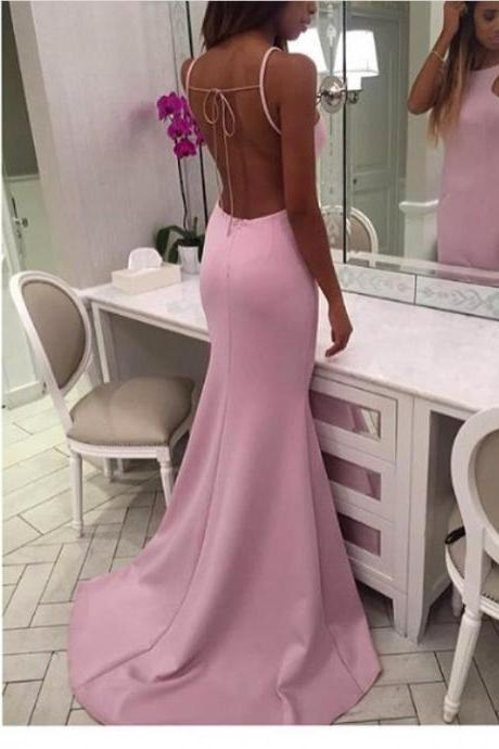 Pink Fitted Prom Dress,Backless Long Formal Dress,Halter Open Back Evening Dresses,Mermaid Prom Dresses