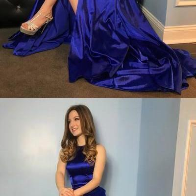 Gorgeous Royal Blue Long Prom Dress with Side Slit