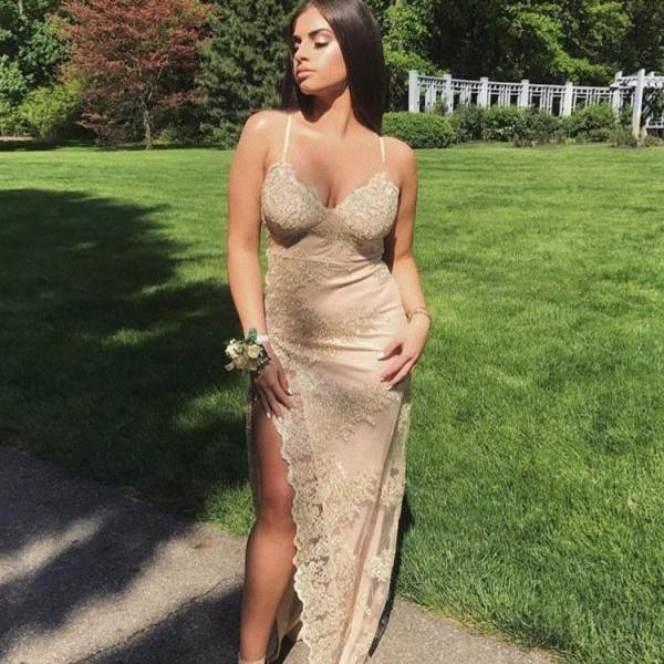 Spaghetti Straps Sexy Lace Mermaid Prom Dress with High Split