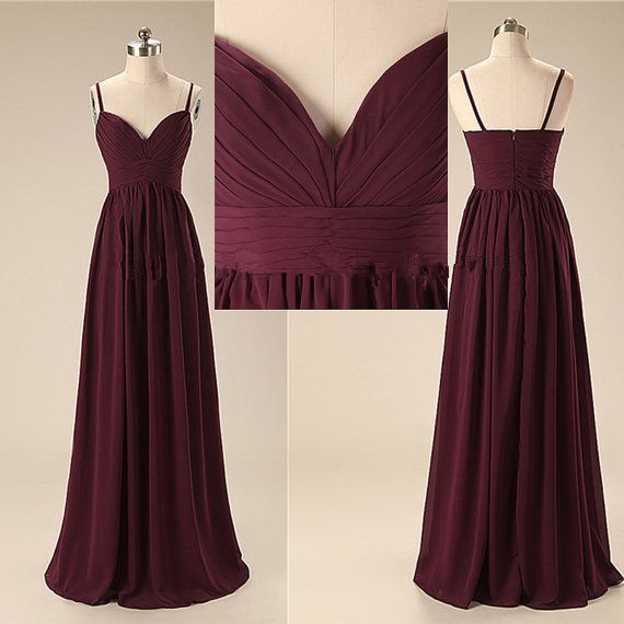 Burgundy Prom Dresses,Chiffon Prom Gown,Wine Red Prom Gowns,Simple Evening Dress,Beautiful Evening Dress,Wine Red Formal Dress,Spaghetti Straps Party Gowns