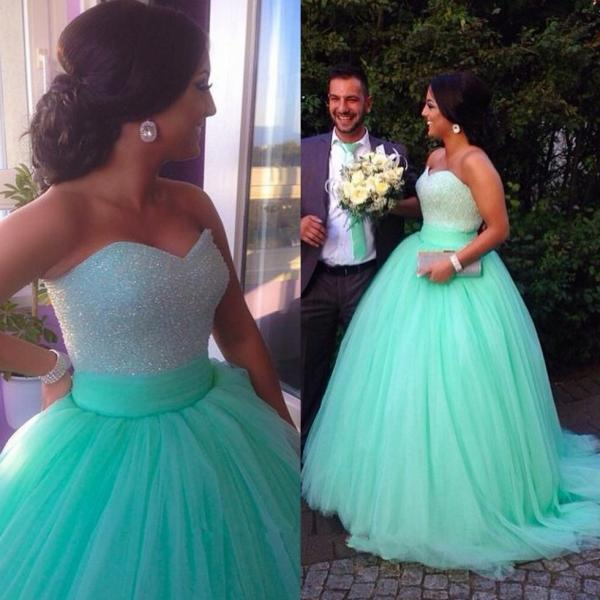 Sequins Beaded Sweetheart Bodice Corset Mint Prom Dress Ball Gowns 2015 Sparkly Pageant Dress