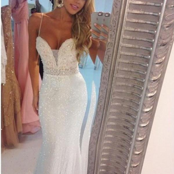 Hot Sale Sexy Spaghetti Straps Sequin Ivory Mermaid Prom Dresses Beading Formal Evening Dress Gown 2016